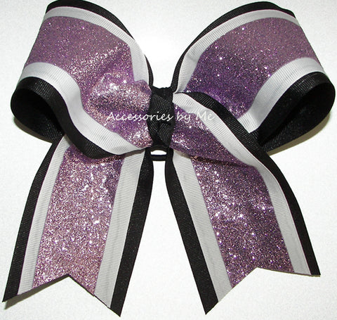 Sparkly Lavender White Black Big Cheer Bow