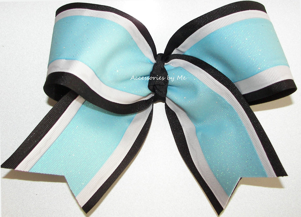 Sparkly Light Blue Black White Cheer Bow