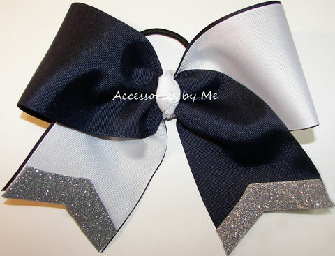 Tic Toc Navy White Silver Big Cheer Bow