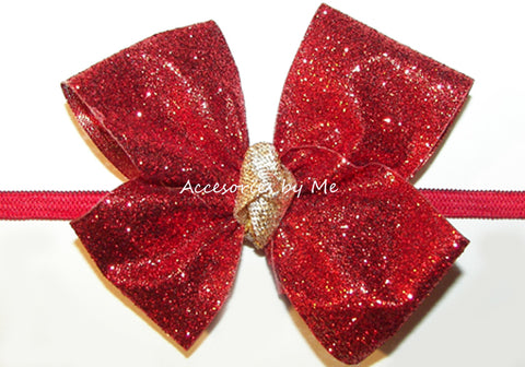 Glitter Red Gold Bow Headband