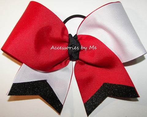 Tic Toc Red White Black Big Cheer Bow