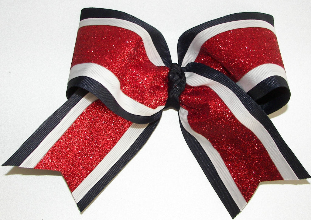 Sparkly Red White Navy Blue Cheer Bow