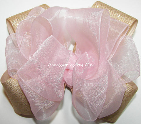 Light Pink Gold Glittery Hair Bow