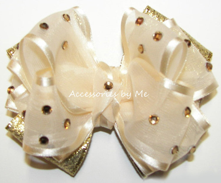 Glitzy Ivory Gold Lame Girls Hair Bow - Accessories by Me