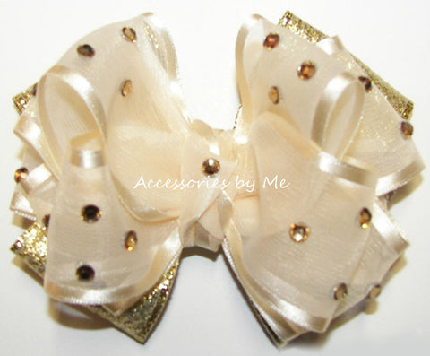 Glitzy Ivory Gold Lame Hair Bow
