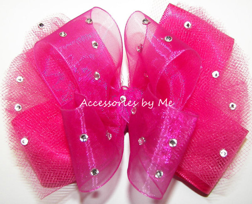 Glitzy Shocking Pink Organza Tutu Hair Bow - Accessories by Me