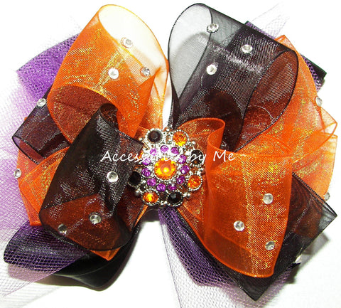 Glitzy Orange Black Purple Tutu Hair Bow
