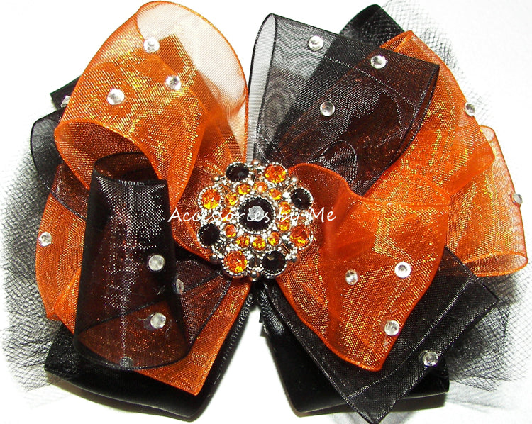 Glitzy Orange Black Tutu Hair Bow