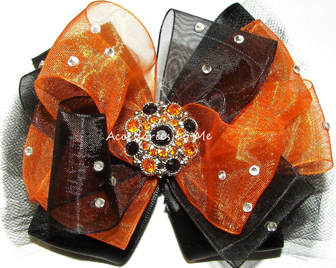 Glitzy Orange Black Organza Tutu Hair Bow