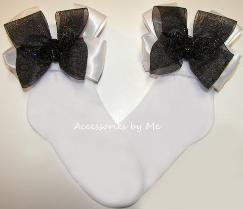 Glitzy Black White Organza Satin Bow Socks