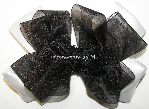 Glitzy Black White Organza Satin Hair Bow