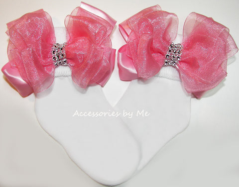 Glitzy Blush Pink Organza Satin Bow Socks