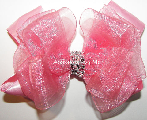 Glitzy Blush Rose Pink Hair Bow
