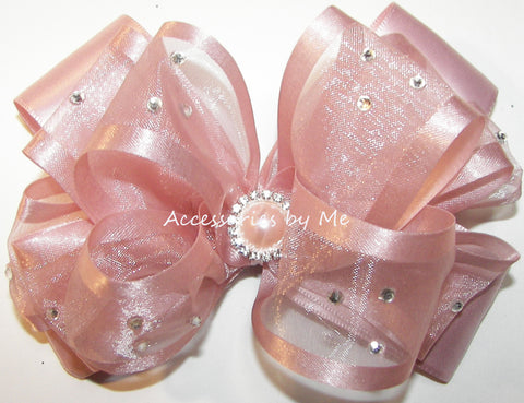 Glitzy Blush Pink Organza Satin Hair Bow