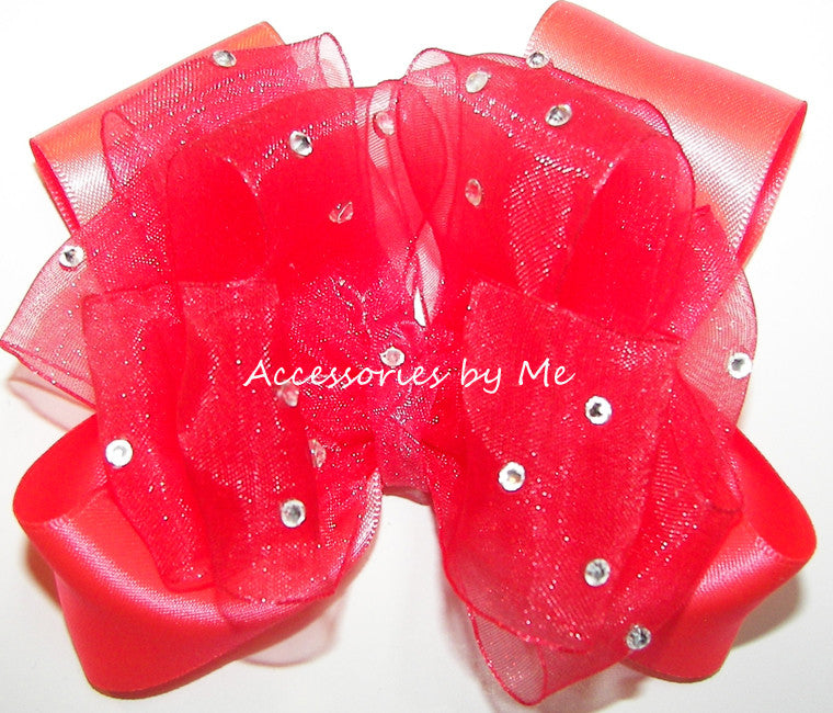 Glitzy Bright Neon Coral Organza Satin Hair Bow
