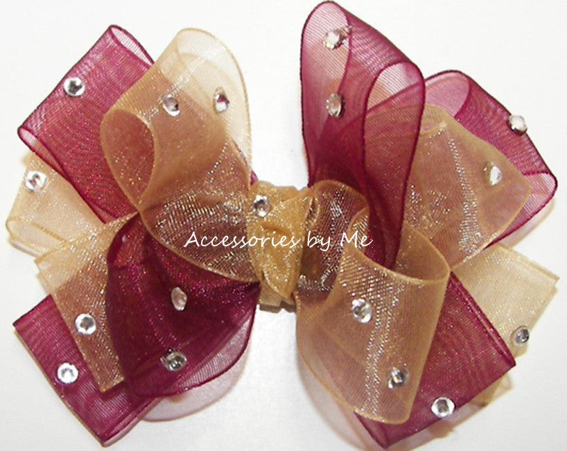 Glitzy Wine Gold Organza Hair Bow - Accessories by Me