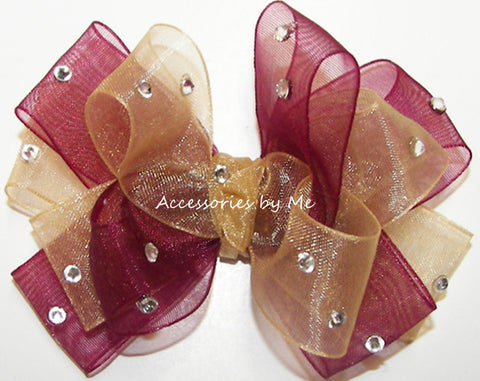 Glitzy Wine Gold Organza Hair Bow