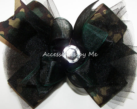 Glitzy Camouflage Green Black Organza Tutu Hair Bow