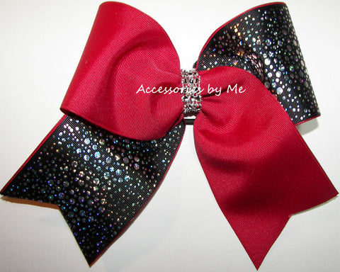 Glitzy Cranberry Red Black Cheer Bow