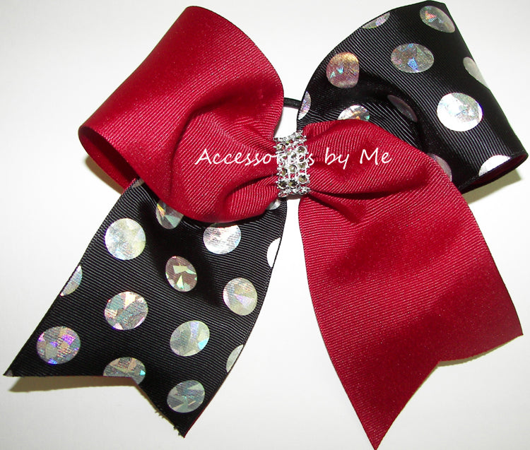 Sparkly Cranberry Red Black Cheer Bow