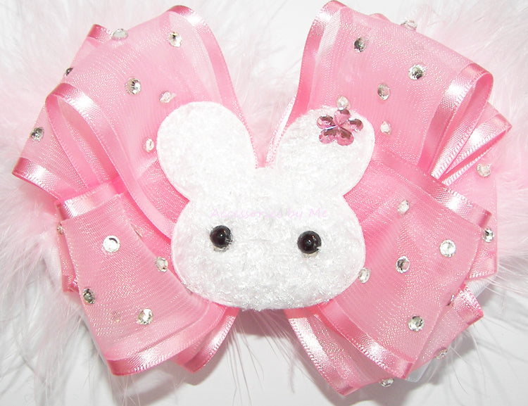 Glitzy Pink Easter Bunny Hair Bow