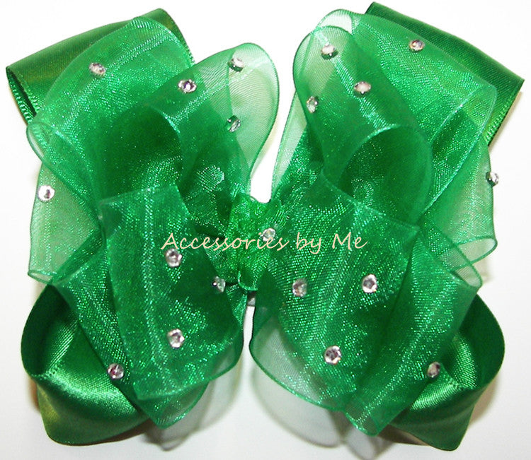 Glitzy Emerald Green Organza Satin Hair Bow - Accessories by Me