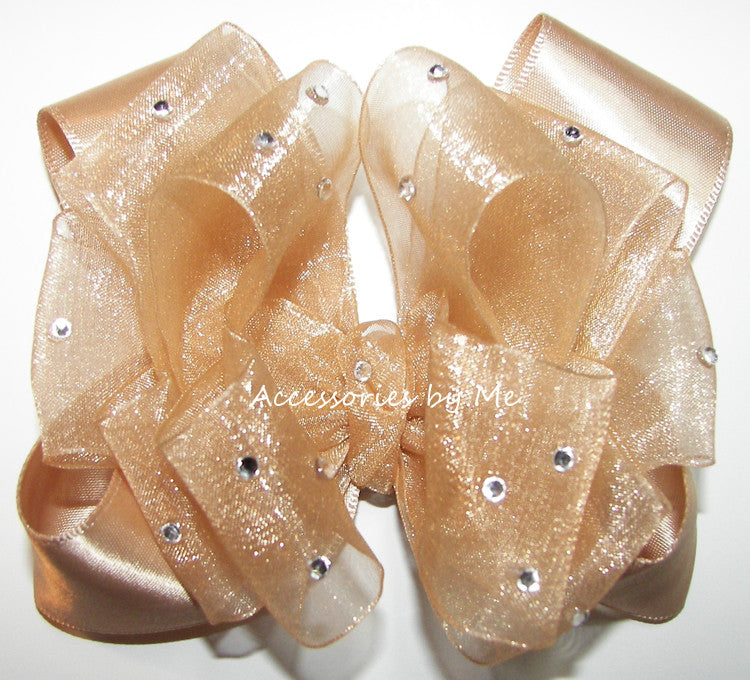 Glitzy Champagne Gold Organza Satin Hair Bow - Accessories by Me