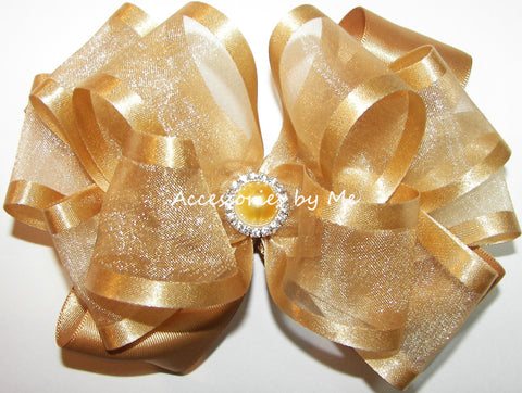 Gold Organza Satin Hair Bow