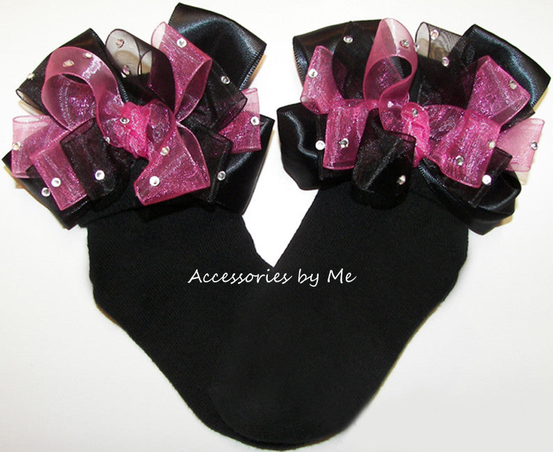 Glitzy Hot Pink Black Organza Satin Bow Socks