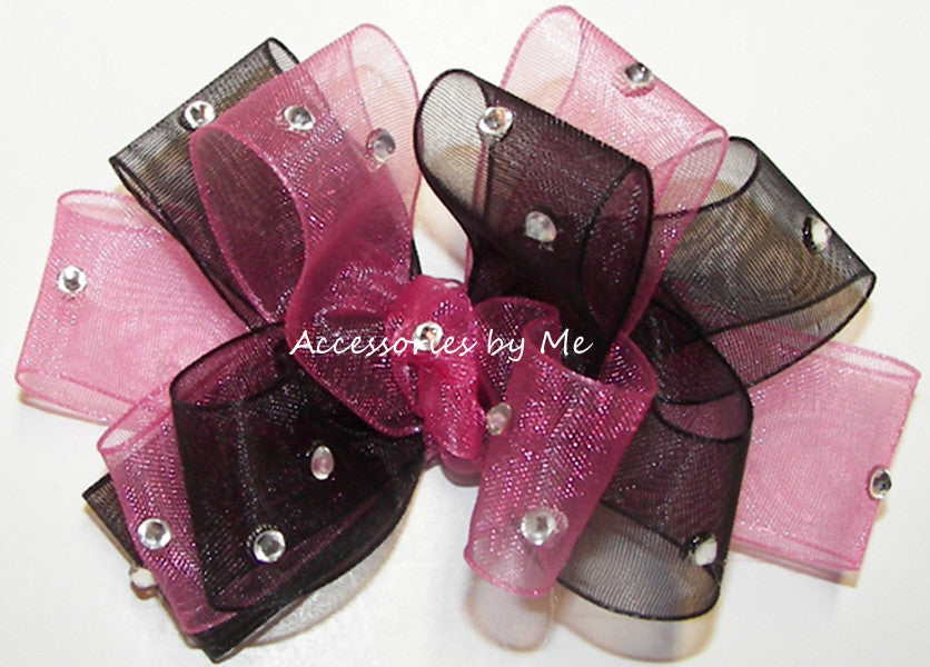 Glitzy Hot Pink Black Organza Hair Bow - Accessories by Me