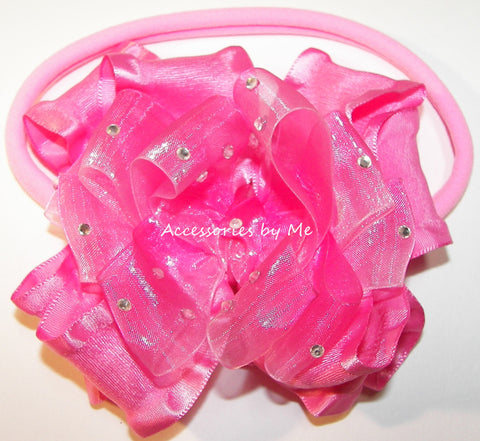 Glitzy Hot Pink Ombre Ruffle Bow Nylon Band