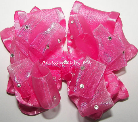 Glitzy Hot Pink Ombre Ruffle Hair Bow