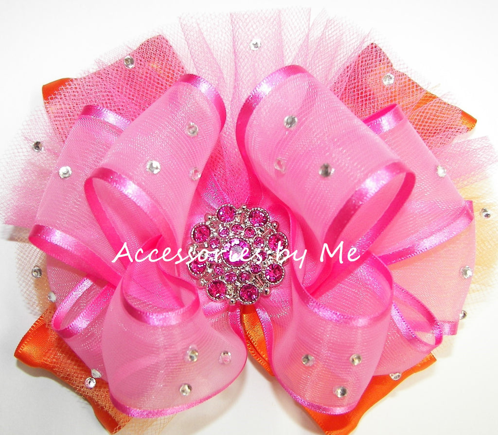 Glitzy Hot Pink Orange Tutu Hair Bow