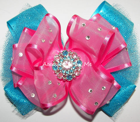 Glitzy Hot Pink Turquoise Organza Tutu Hair Bow