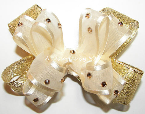 Glitzy Ivory Gold Lame Baby Hair Bow