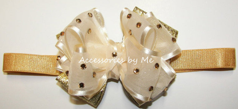 Glitzy Ivory Gold Organza Metallic Bow Baby Headband - Accessories by Me