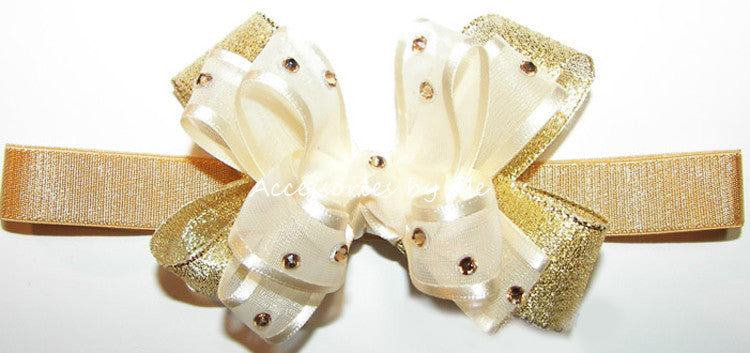 Glitzy Ivory Gold Lame Small Bow Headband - Accessories by Me