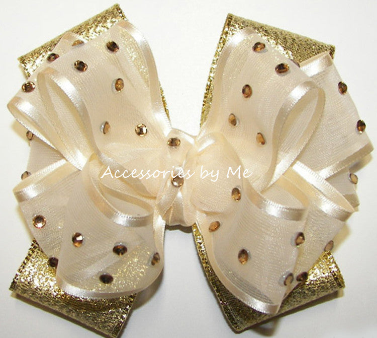 High Glitz Pageant Ivory Gold Hair Bow - Accessories by Me