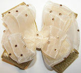 Glitzy Ivory Gold Lame Hair Bow for Girls - Accessories by Me
