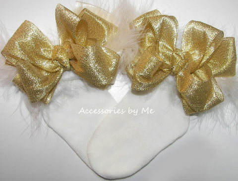 Glitzy Gold Ivory Marabou Feathers Bow Socks