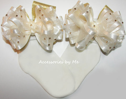 Glitzy Ivory Gold Organza Lame Bow Socks