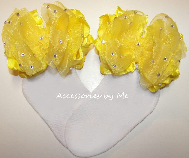 Glitzy Bright Yellow Organza Ruffle Bow Socks