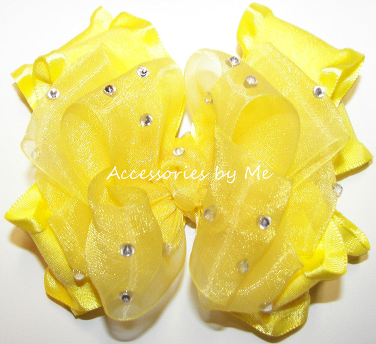 Glitzy Bright Yellow Organza Ruffle Hair Bow - Accessories by Me