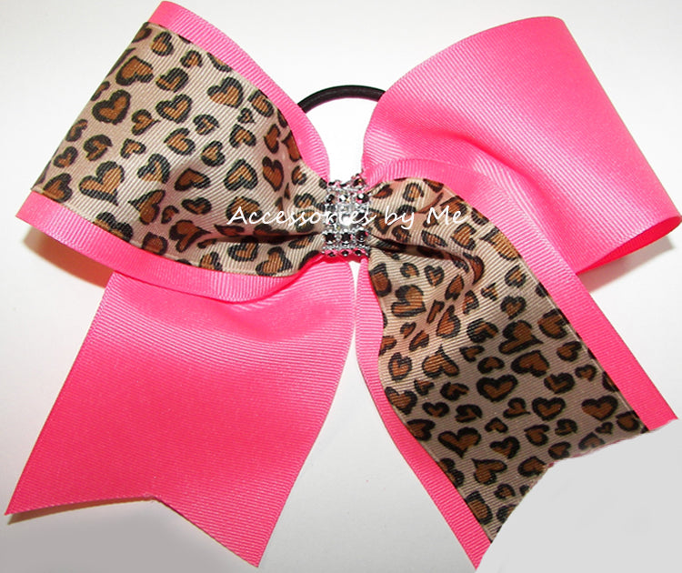Glitzy Neon Pink Leopard Cheer Bow
