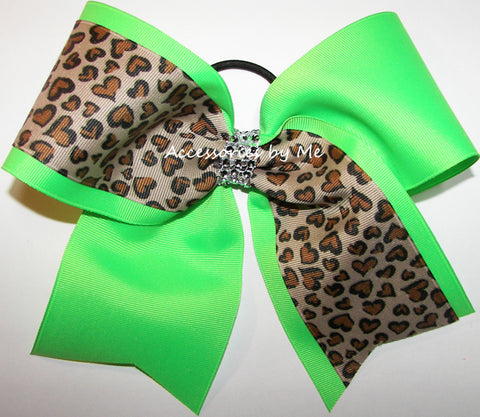 Glitzy Neon Green Leopard Cheer Bow