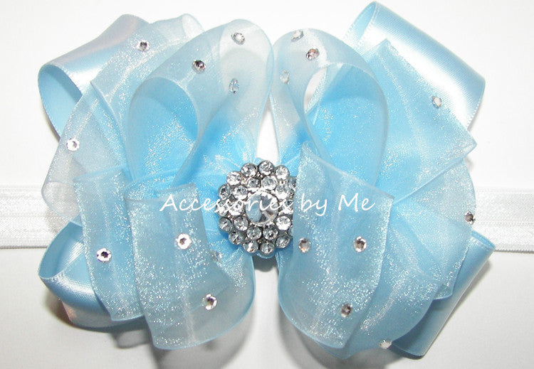 Fancy Light Blue Organza Satin Bow Skinny Headband - Accessories by Me