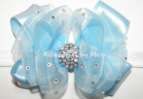 Fancy Light Blue Organza Satin Bow Skinny Headband