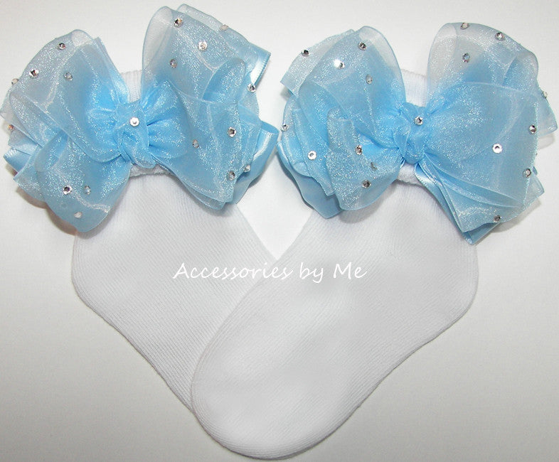 Glitzy Light Blue Organza Satin Bow Socks - Accessories by Me