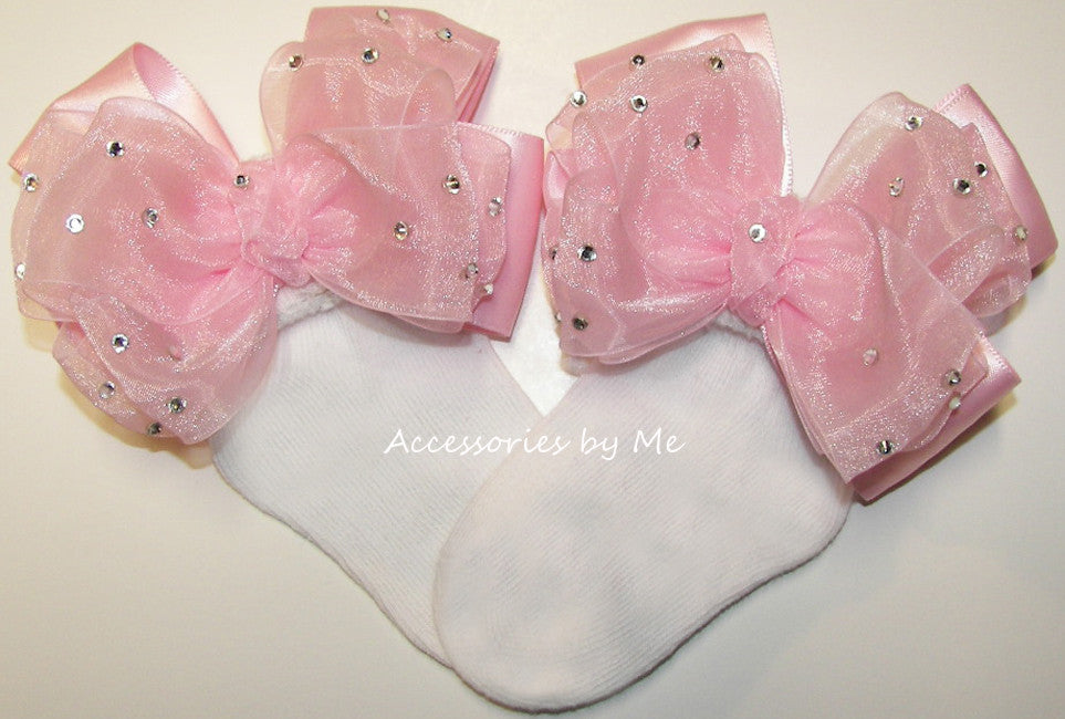 Glitzy Light Pink Organza Satin Bow Socks - Accessories by Me