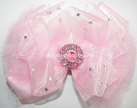 Glitzy Light Pink Organza Tutu Hair Bow